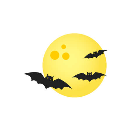 Moon and bats on a white background.