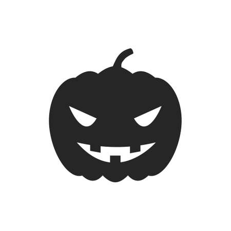 Isolated black silhouette of a pumpkin on a white background. 向量圖像