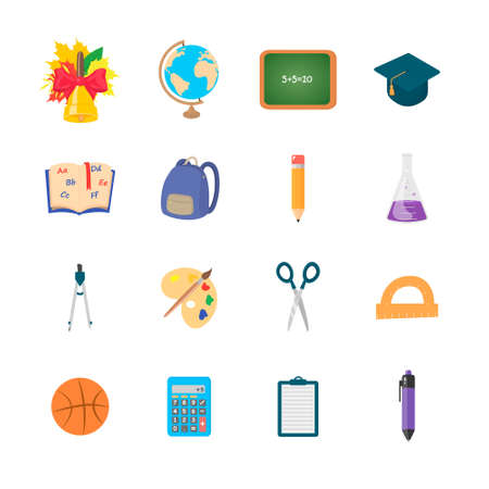 Set of isolated education icons on a white background.