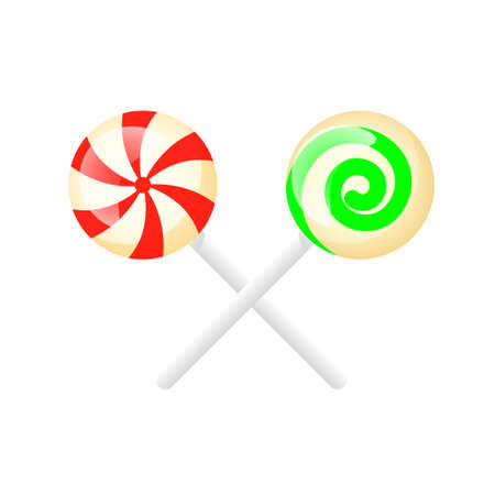 Isolated multicolored lollipops on a white background.