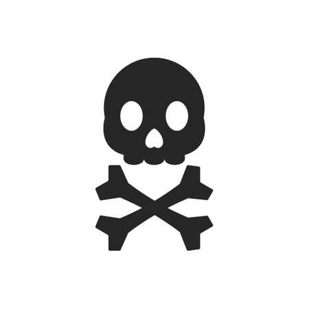 Isolated black silhouette of a skull on a white background.