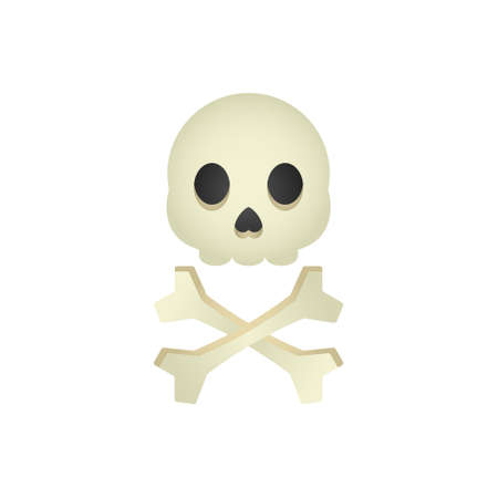 Isolated cartoon skull and bones on a white background.
