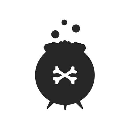 Simple black silhouette of a bowler hat for a magic potion isolated on a white background. 向量圖像