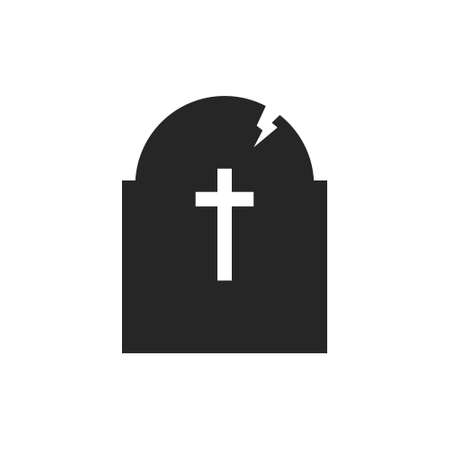 Isolated black silhouette of a headstone on a white background.