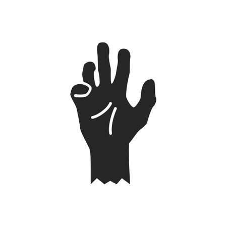 Isolated black silhouette of a zombie hand on a white background. Vector flat illustration. 向量圖像