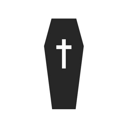 Isolated black silhouette of a coffin on a white background.