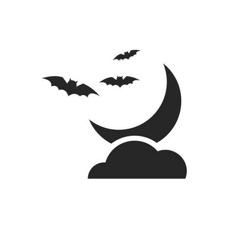 Isolated black silhouette of the moon with cloud and bats on a white background.