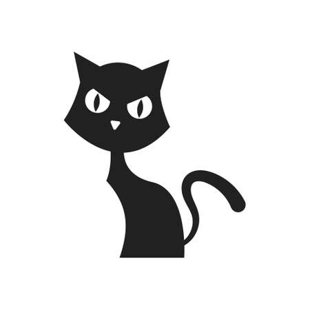Isolated black silhouette of a cat on a white background. 向量圖像