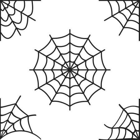 Set of spider webs on a white background. Vector Illustratie