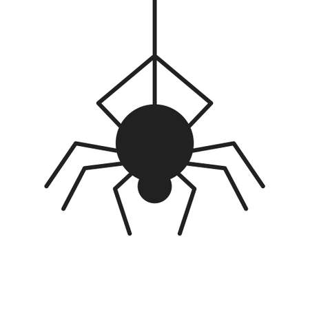 Isolated black silhouette of a black spider hanging from a cobweb on a white background. 向量圖像