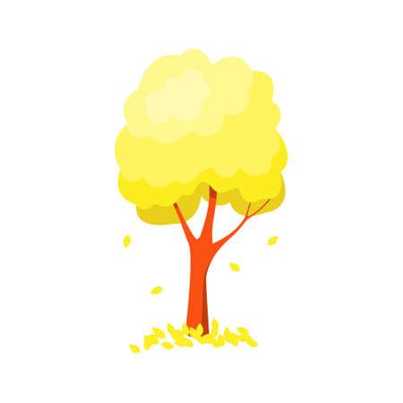 Tree with falling yellow foliage isolated on white background. 向量圖像