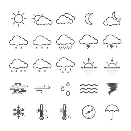 Set of simple weather icons isolated on white background.