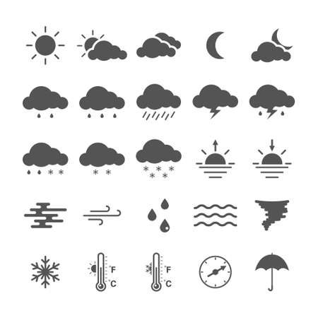Set of linear weather icons isolated on white background. 向量圖像