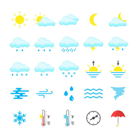 Set of colored weather icons isolated on white background.