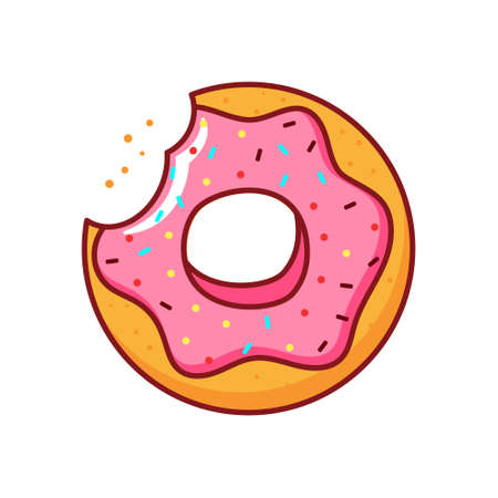 Isolated donut icon with pink icing on white background. 向量圖像