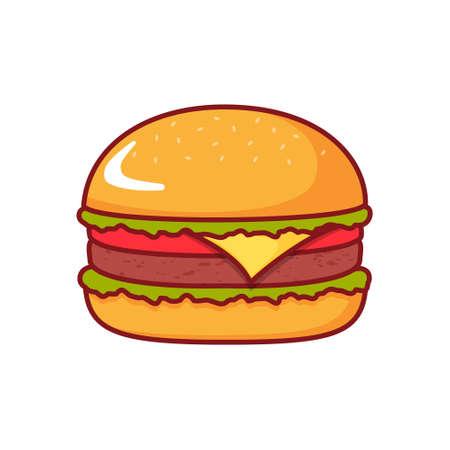 Burger isolated icon on white background. 向量圖像