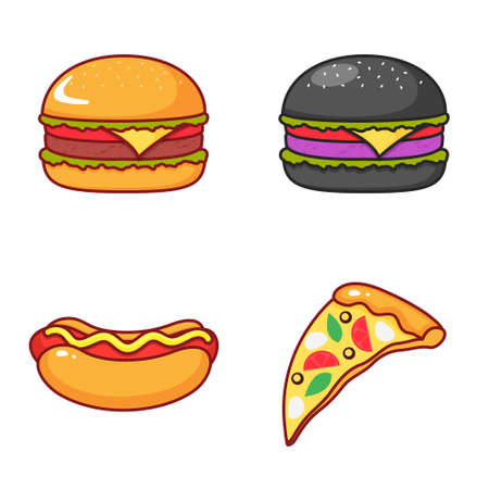 Set of isolated icons of burger, pizza and hot dog on a white background.