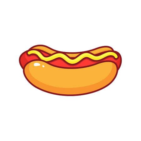 Hot dog isolated icon on white background.