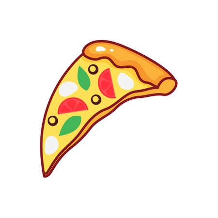 Pizza slice isolated icon on white background.