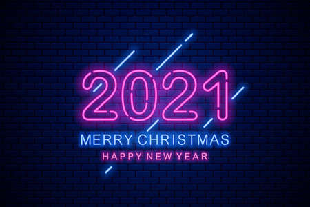 Merry Christmas and happy new year 2021. Neon greeting sign on dark brick background.