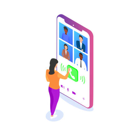 A woman communicates with her colleagues via video using a smartphone. Remote work, communication with friends via the Internet, video conference.