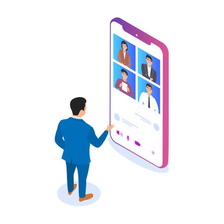 A man communicates with his colleagues via video using a smartphone. Remote work, communication with friends via the Internet, video conference.