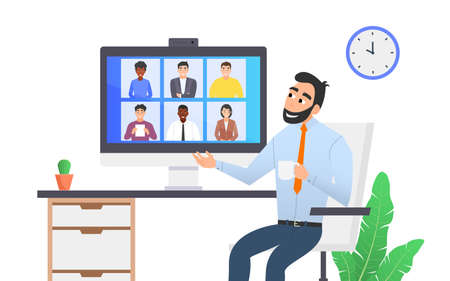 A man is holding a video conference with his colleagues. Remote work, communication via the Internet. 向量圖像