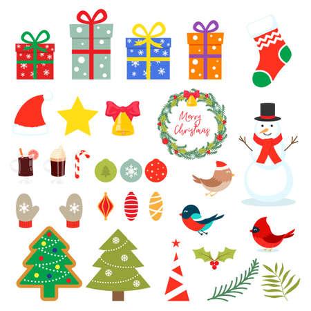 Set of Christmas elements isolated on white background. 向量圖像