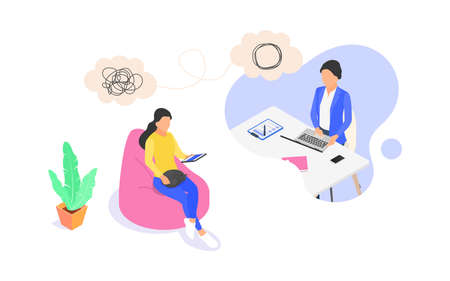 Online psychological counseling concept. The woman provides psychological support to the woman. 向量圖像