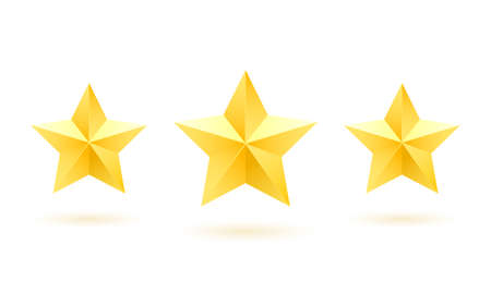 Set of gold five-pointed metal stars on a white background.