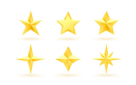 Set of gold realistic metallic stars on a white background. 向量圖像