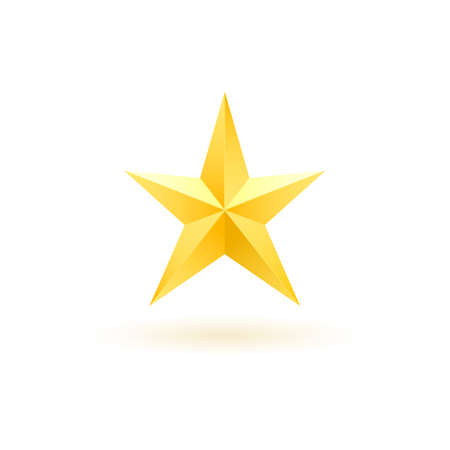 Gold realistic metallic star on a white background 3.