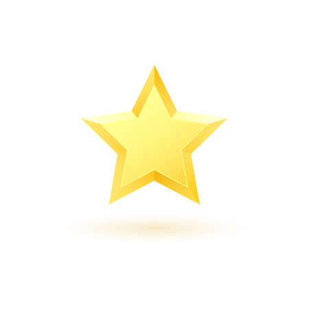 Gold realistic metallic star on a white background 2.