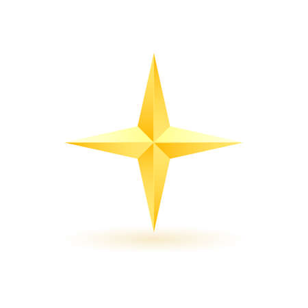 Gold realistic metallic star on a white background 5.