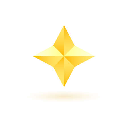Gold realistic metallic star on a white background 6.