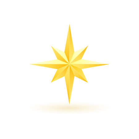 Gold realistic metallic star on a white background 4.