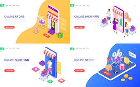 Online shopping concept banners set. Web store, ordering goods using a smartphone, contactless delivery. Illustration