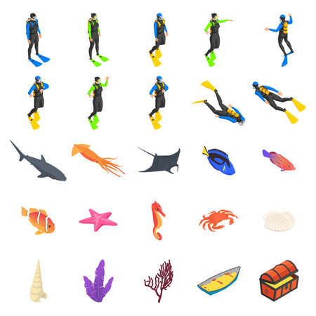 Set of driver icons, flora and fauna of the seabed on a white background.