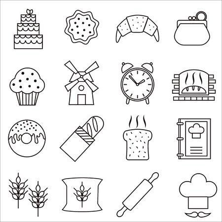 Bakery pictogrammen. Stock Illustratie