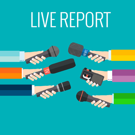 mic: Journalism concept vector - set of hands holding microphones and voice recorders. Live news template. Press illustration.