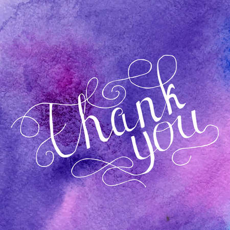 written text: Thank you vector card with hand written text