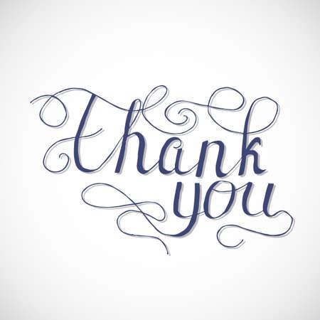 written text: Thank you vector card with hand written text