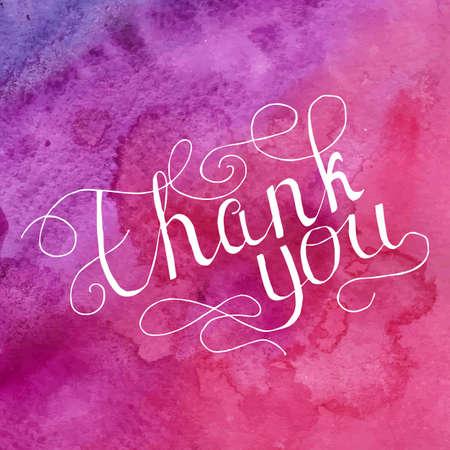 written: Thank you vector card with hand written text