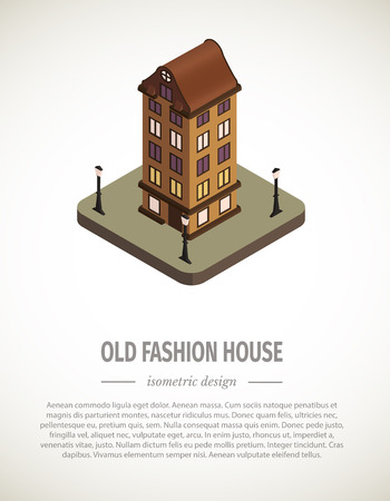 Old isometric house. Vector