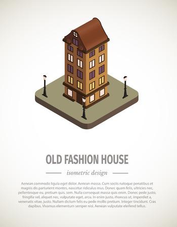 sidewalk cafe: Old isometric house. Illustration