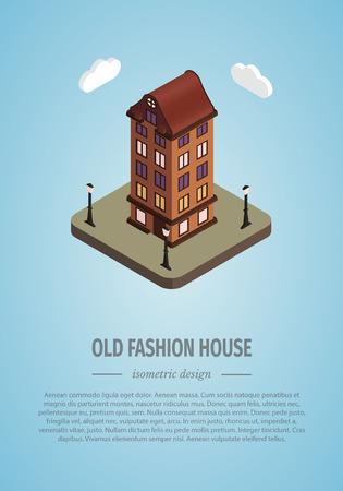 awnings: Old isometric house. Illustration