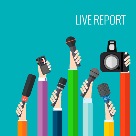 news reporter: live report