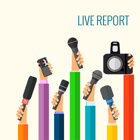 television: vector live report concept, live news, hands of journalists with microphones and tape recorders