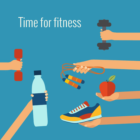 Fitness concept flat Isolated vector illustration and modern design element