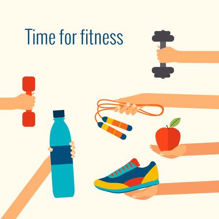 Fitness concept vlakke geïsoleerde vector illustratie en modern design element